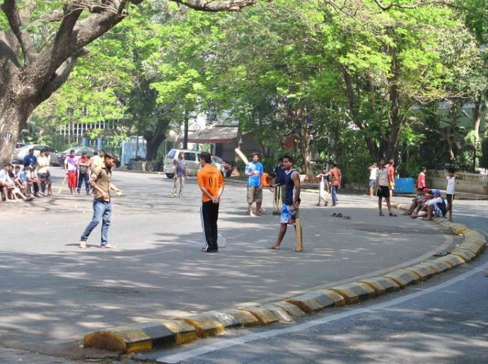 Mumbai Boys Playing Cricket