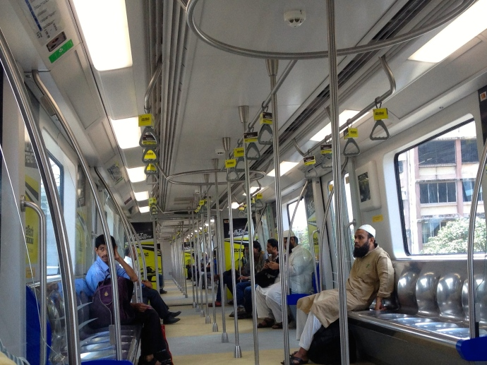 Interiors of the Mumbai Metro