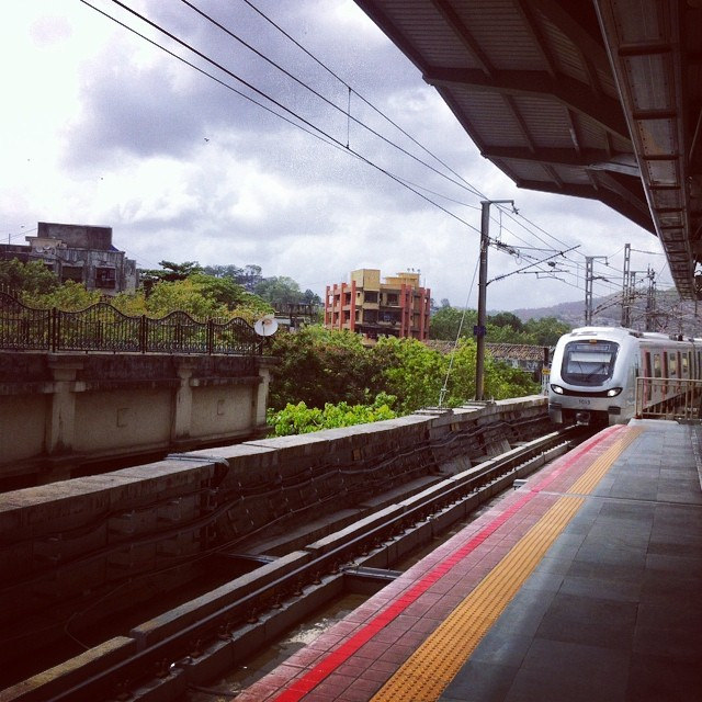 Mumbai Metro Train Arriving at the Station